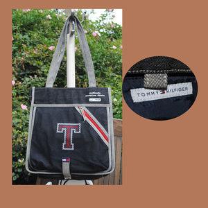 TOMMY HILFIGER Black Denim Shoulder Bag w/ Mirror